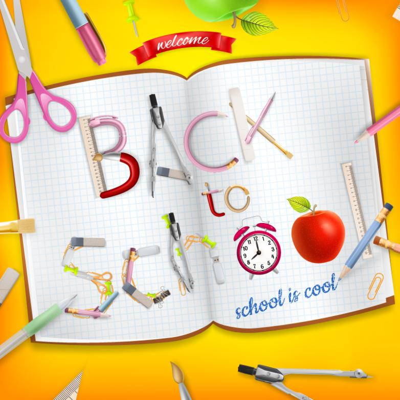 Open The Book To School Poster Vector
