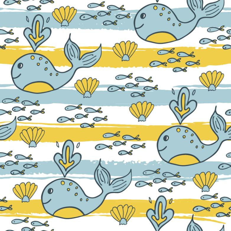 Cartoon Whale Seamless Background Vector