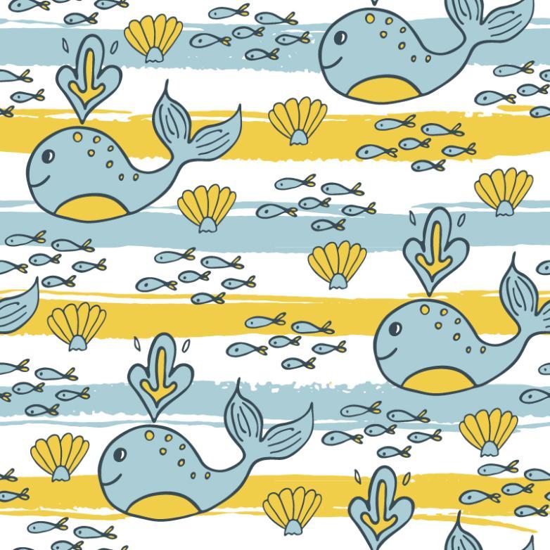 Cartoon Whale Seamless Background Vector