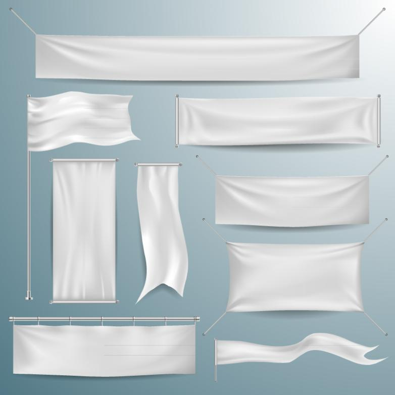 Nine New Suspension White Silk Banner Vector