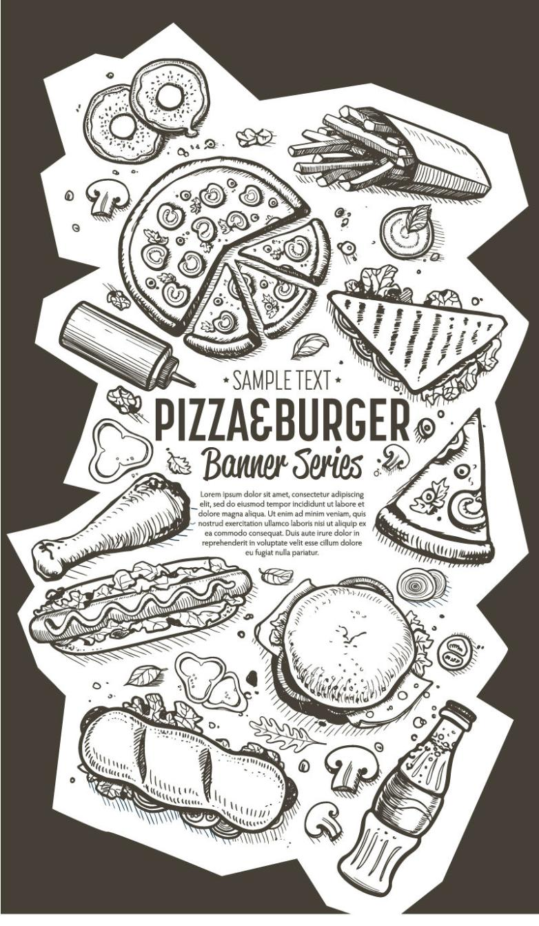 Hand-painted Fast Food Banner Vector