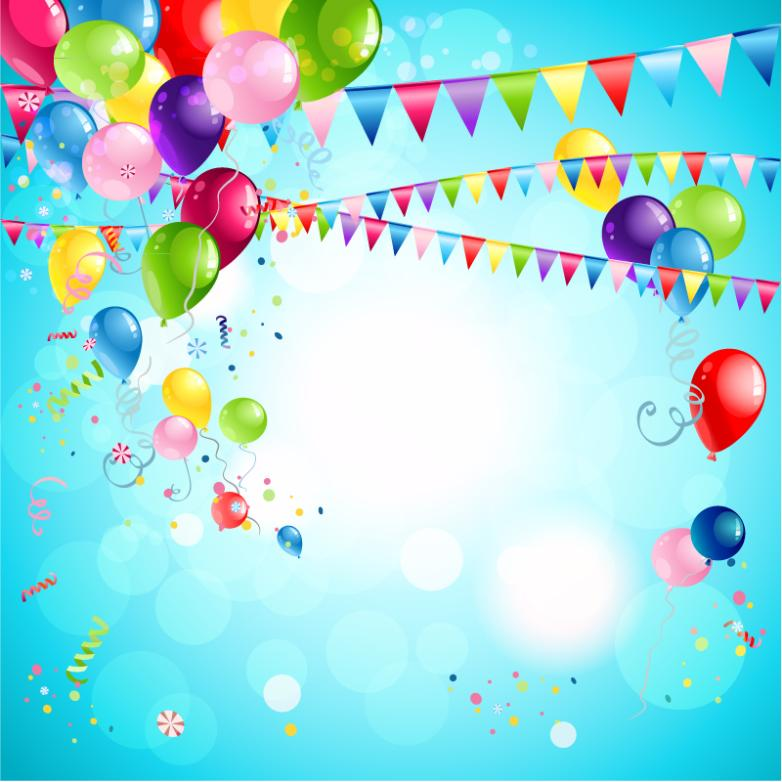 Colorful Balloons And Flag Festival Background Design Vector