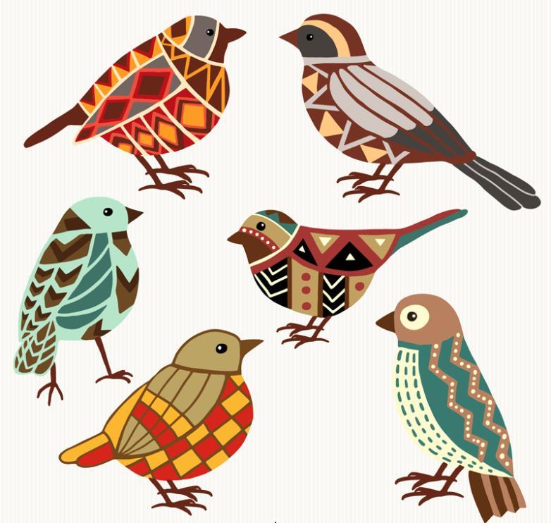 Six Color Decorative Pattern Design Bird Vector
