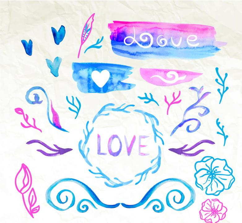 20 Water Painting Love And Branches Vector