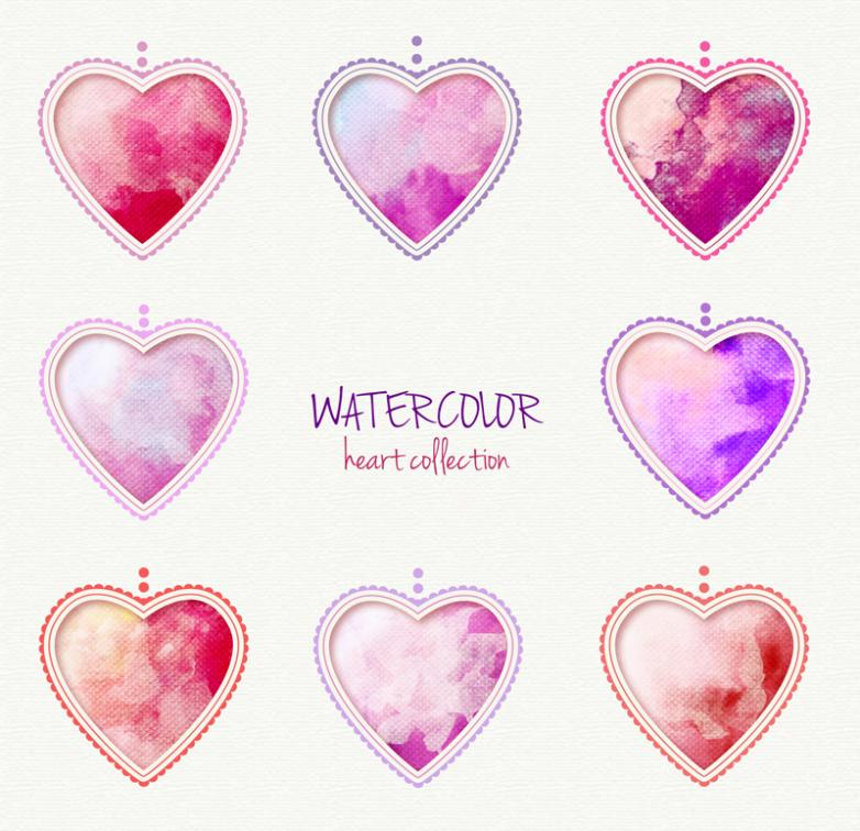 Eight Watercolor Love Hanging Pendant Vector