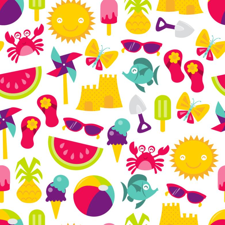 Cartoon Summer Seamless Background Elements Vector