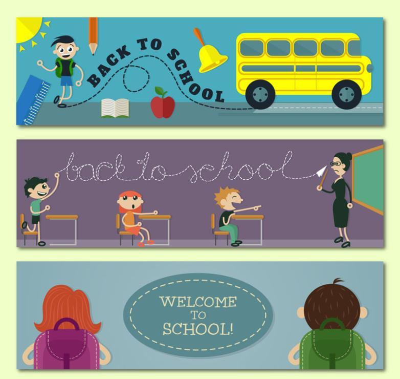 Three Creative School Banner Vector