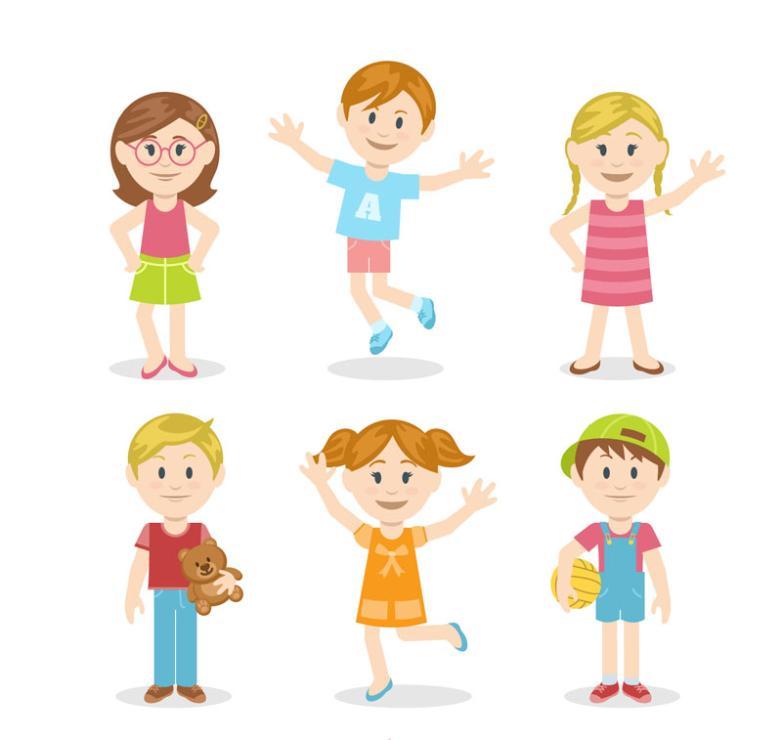 Six Lovely Children In The Summer Vector