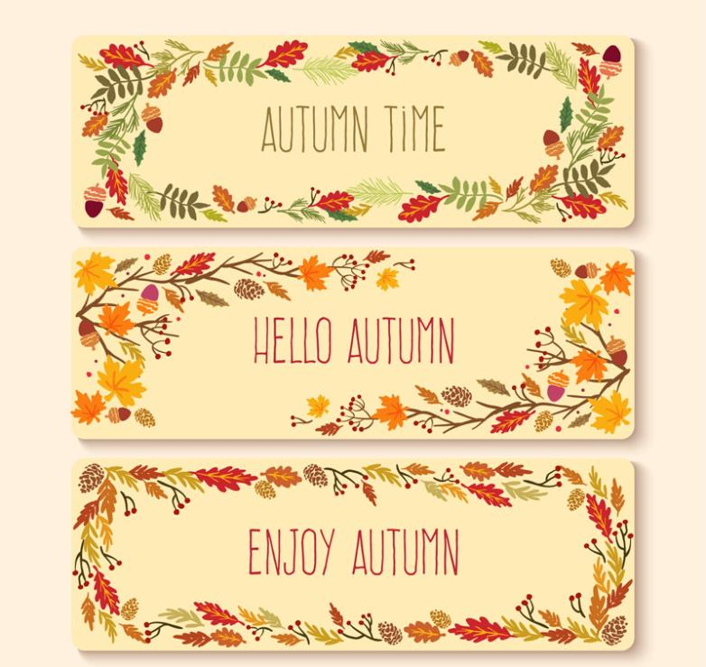 Three Color Banner Autumn Plants Vector
