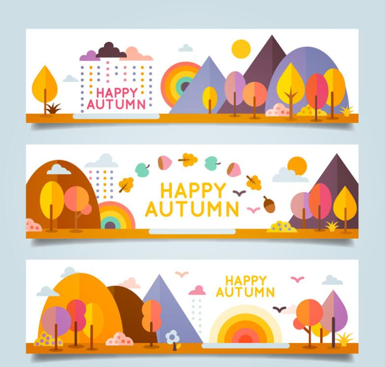 Three Cartoons Banner Autumn Scenery Vector