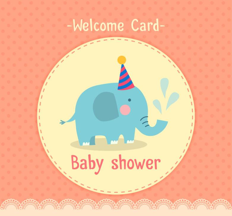 The Blue Elephant Baby Showers Party Card Vector