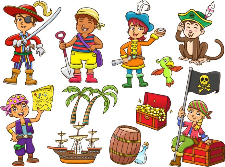11 Pirates Dress Up Children And Decorations Vector