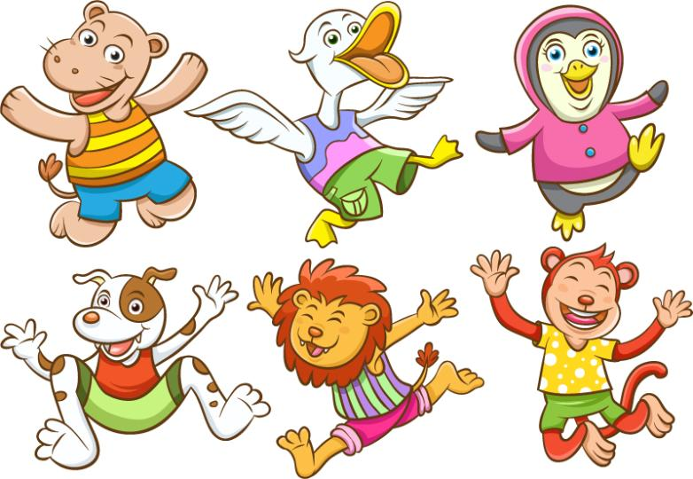 Six Design Creative Leap Cartoon Animals Vector