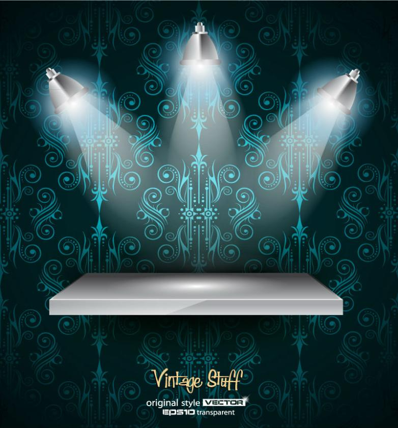 Gorgeous Spotlight And Furnishings Vector