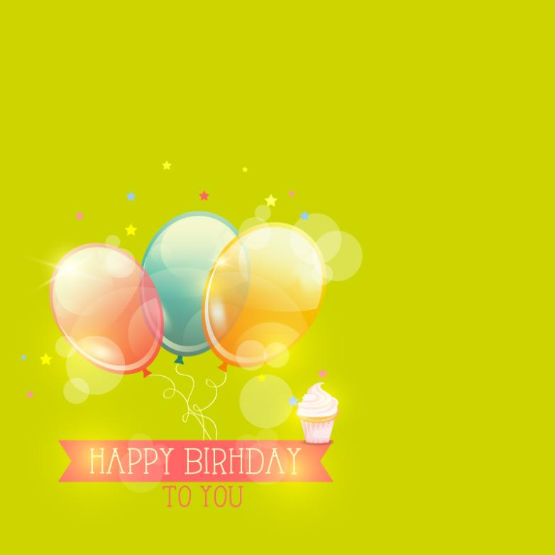 Color Birthday Balloon Beam And Cupcakes Vector