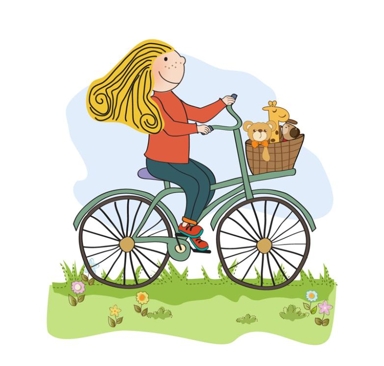 Cartoon Bike Girl Vector