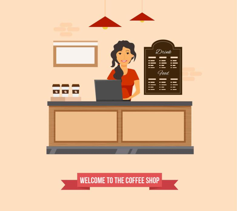 Cafe Cashier Girl Vector