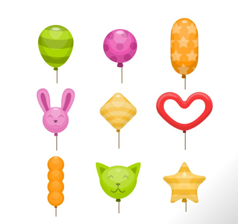 Nine New Colorful Balloons Vector
