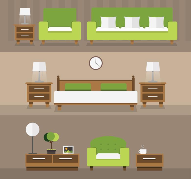 3 Set Of Green Elegant Furniture Design Vector
