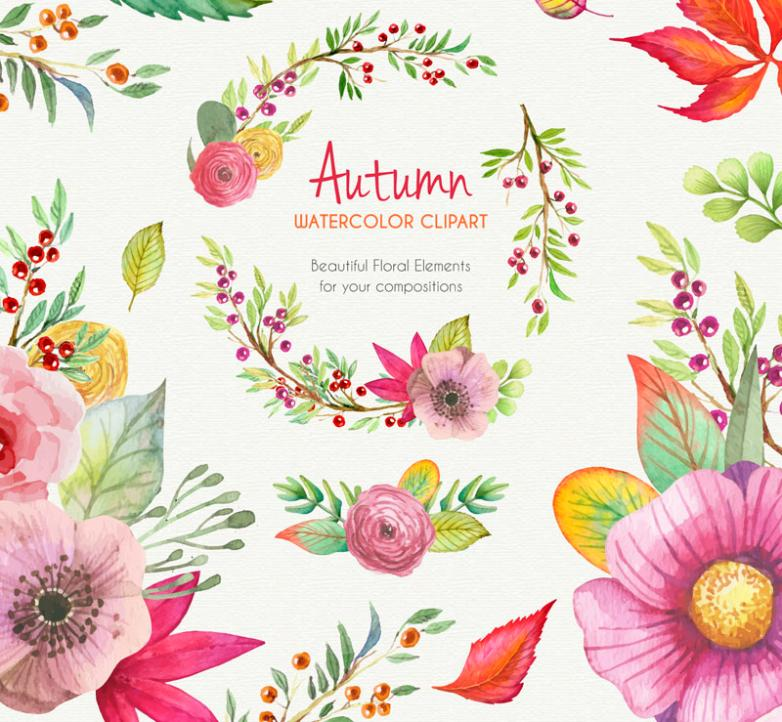 A Variety Of Watercolor Autumn Flowers Vector