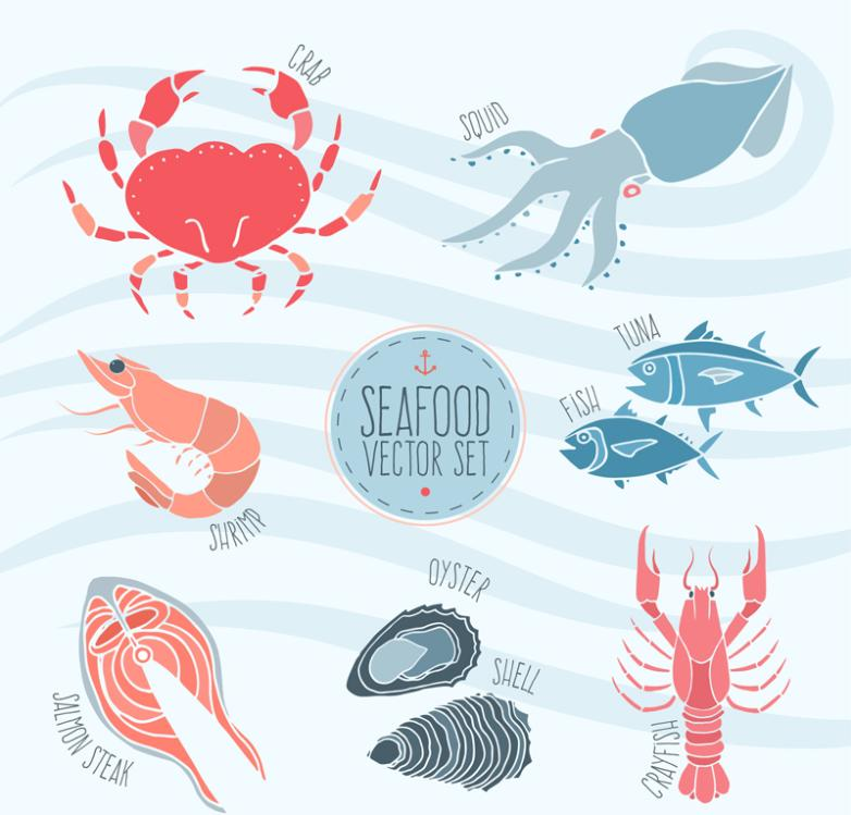 Seven New Creative Seafood Vector