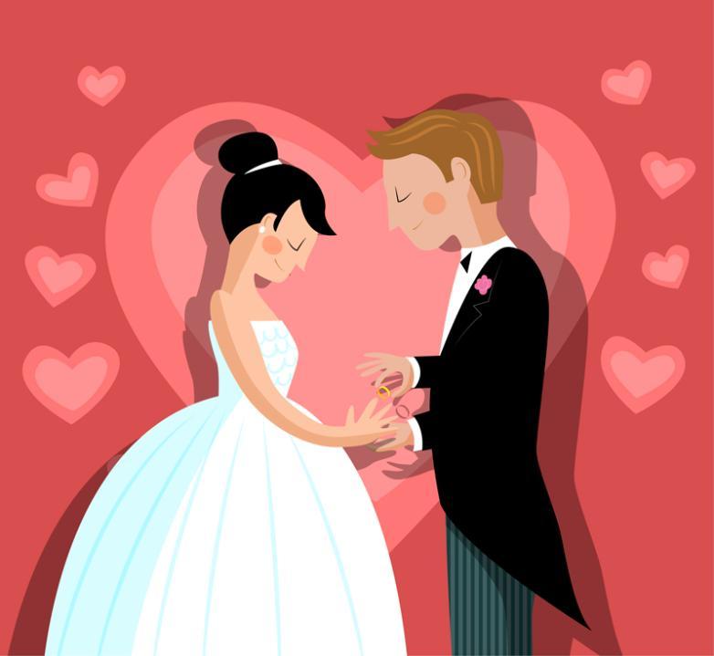 Exchange Diamond Wedding Couple Vector