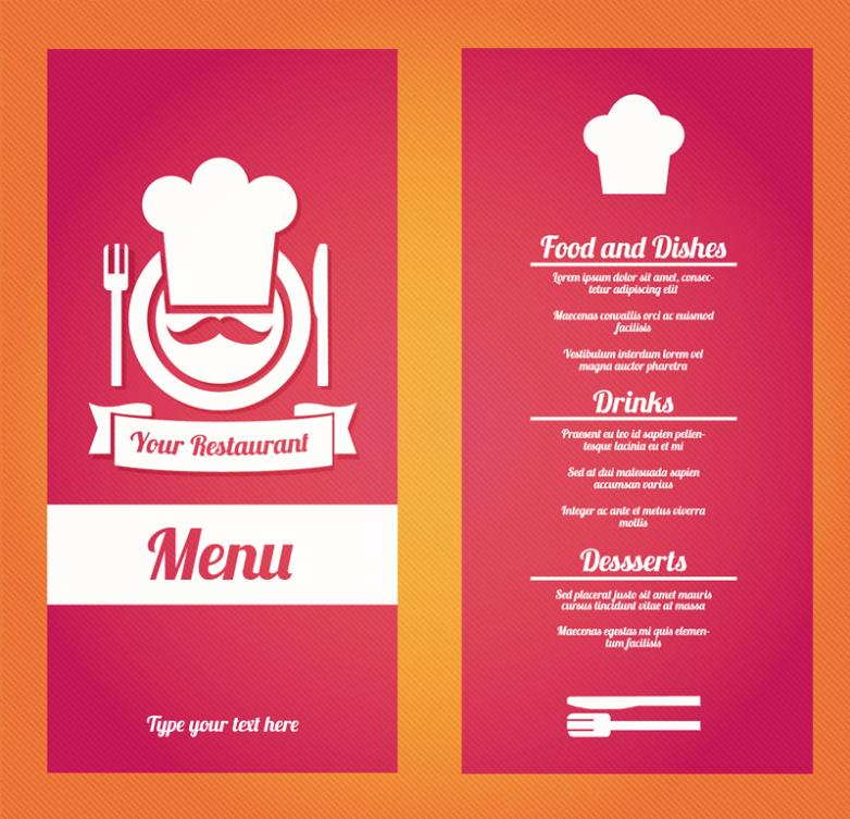 Positive And Negative Creative Red Restaurant Menus Vector
