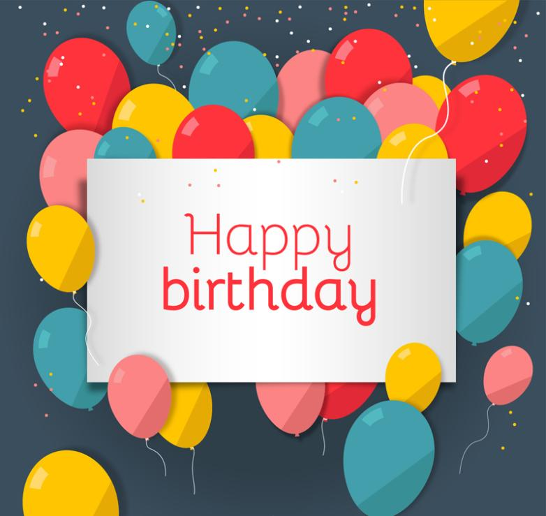 Beautiful Balloon Birthday Cards Vector