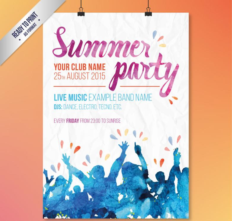 Watercolor Summer Party Posters Vector