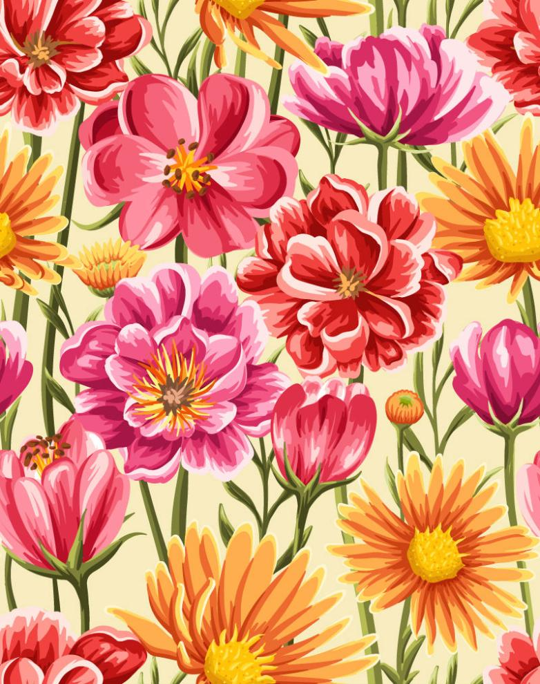 Seamless Background Painted Flowers In Full Bloom Vector