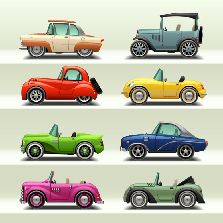 Eight Cartoon Car Design Vector