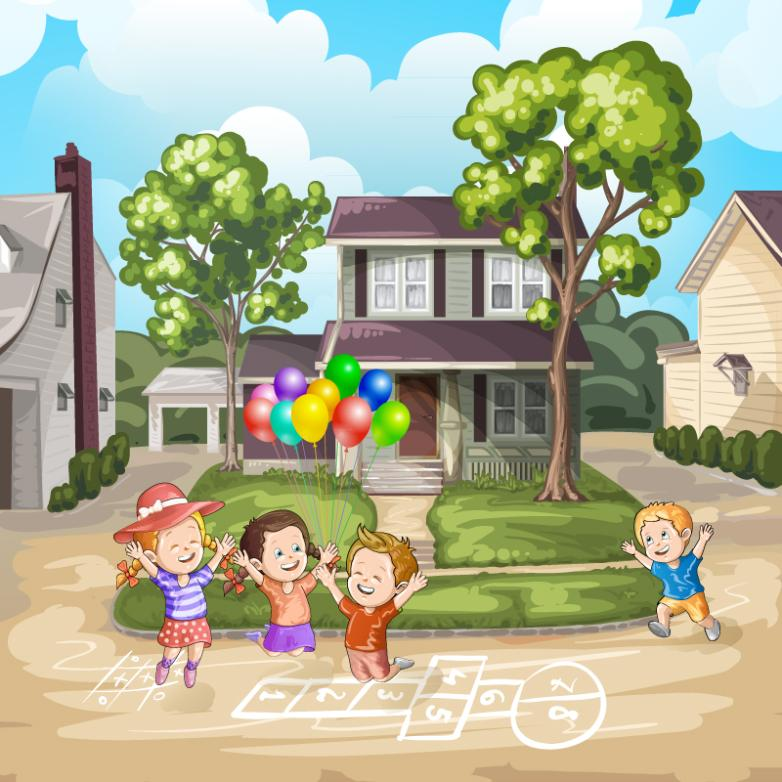 Four Cartoon Children Playing Games Vector