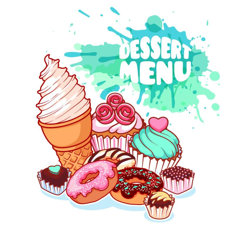 Many Delicious Dessert Coloured Drawing Or Pattern Vector