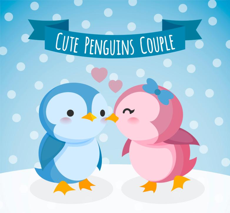 Cartoon Penguin Couples In Snow Vector