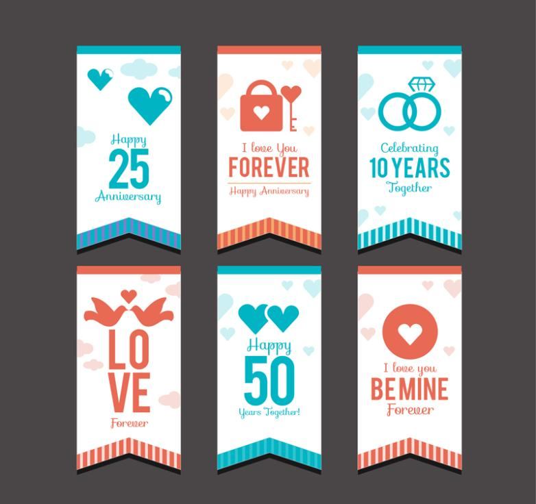 Six Creative Anniversary Label Vector