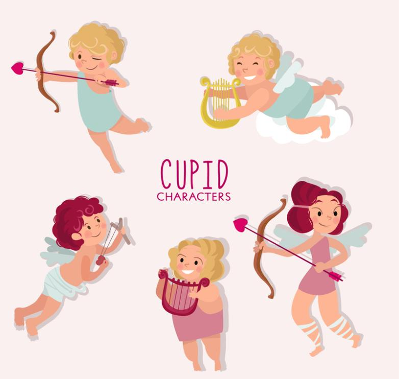 Five Lovely Cupid Vector