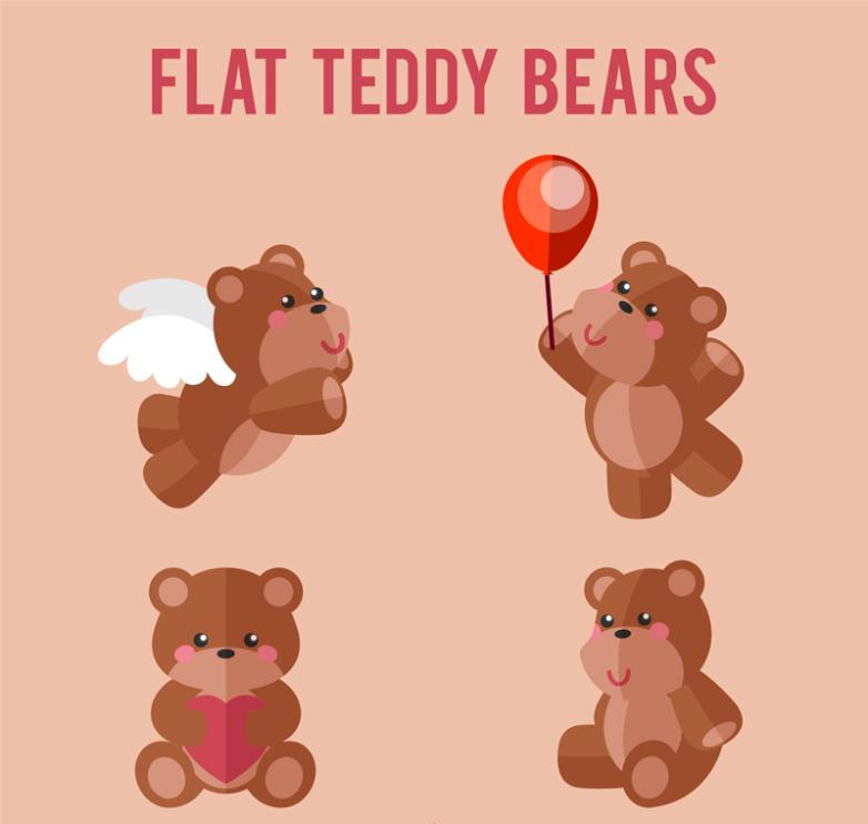 4 Flat Teddy Bear Vector