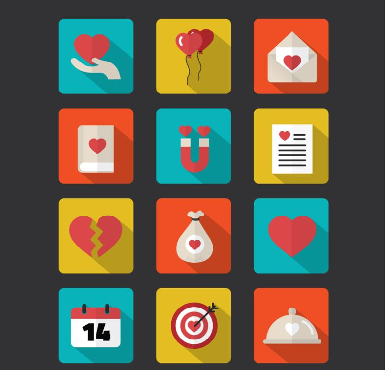 12 Square Icon Love Elements Vector