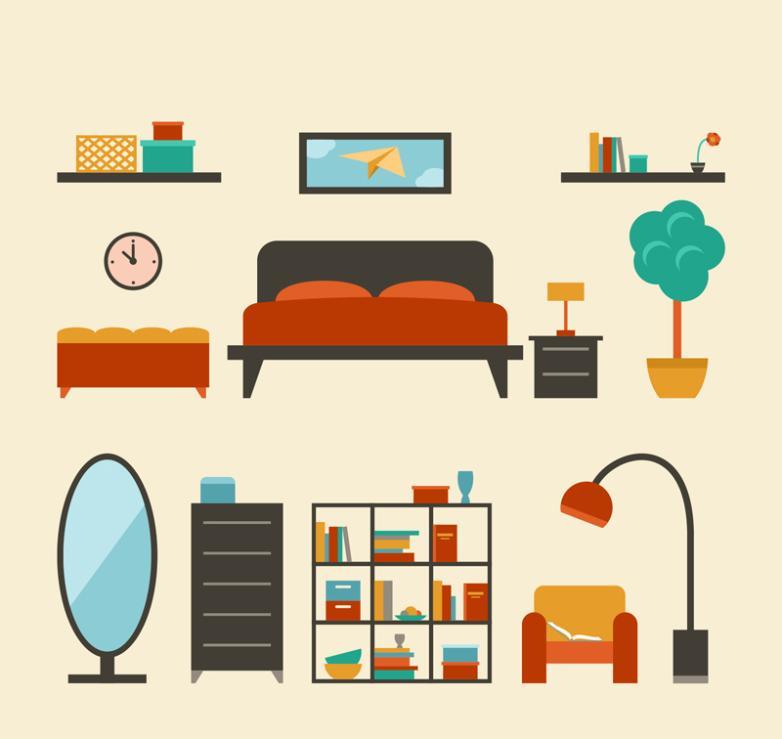 11 Flat Creative Furniture Design Vector