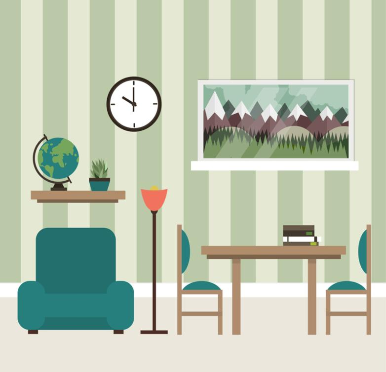 Clean And Tidy Flat Sitting Room Design Vector