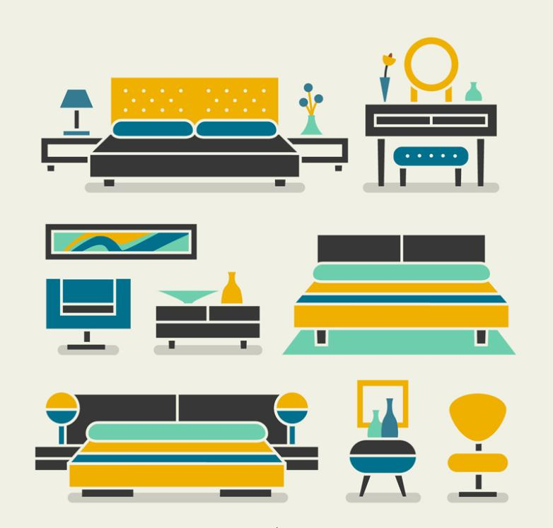 Nine New Exquisite Furniture Design Vector