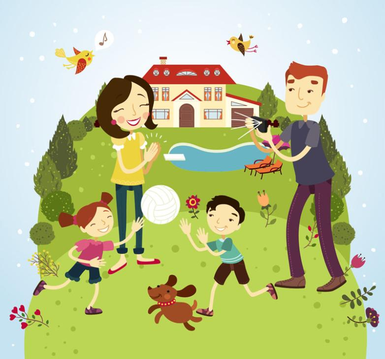 The Warmth Of A Family Of Four Outdoor Activities Vector