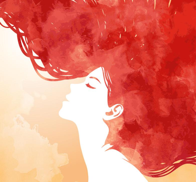 Watercolor Red Hair Woman Side Face Vector
