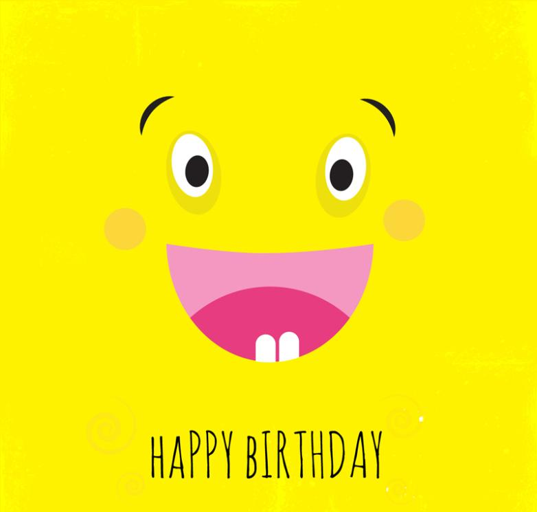 Cute Cartoon Smiling Face Birthday Cards Vector