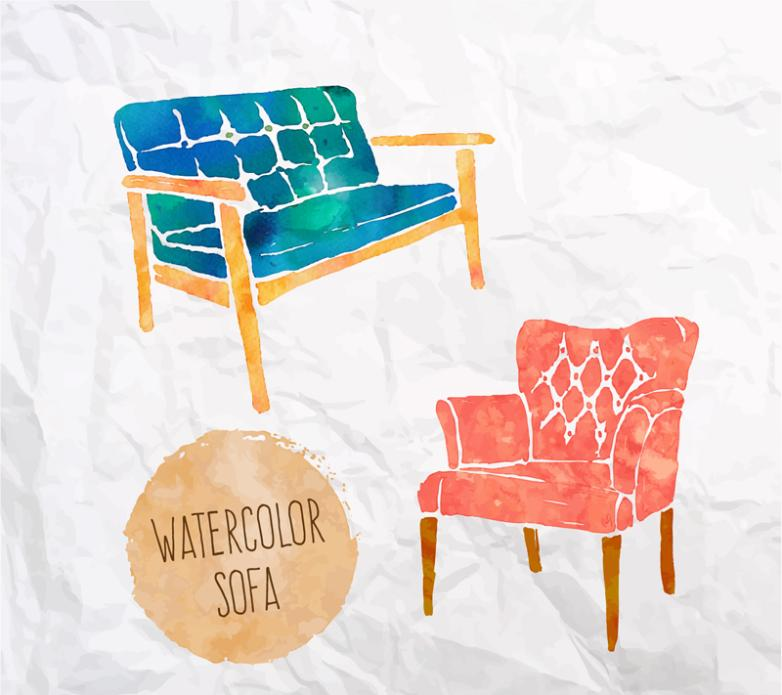 Two Water Paint Sofa Design Vector