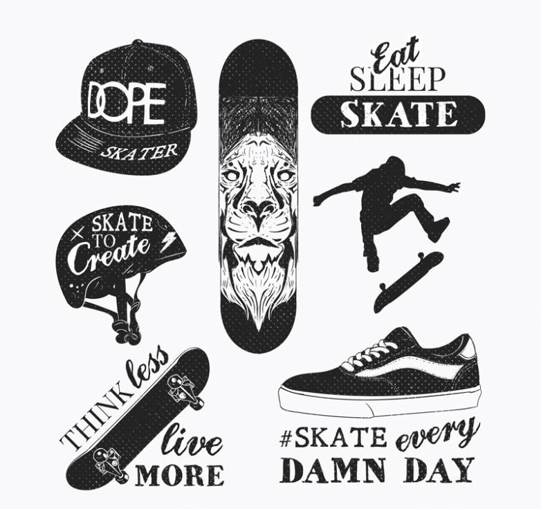 Seven New Creative Skateboard Elements Vector