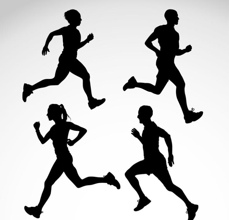 4 Running Silhouette Vector