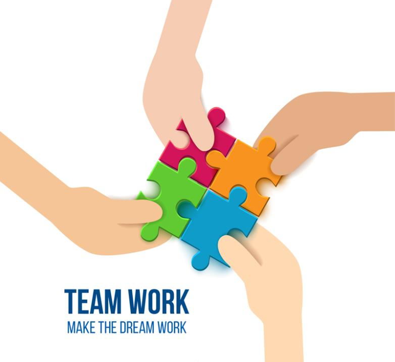 Creative Team Puzzle Illustrations Vector