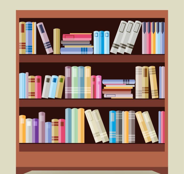 Cartoon Book Shelf Design Vector