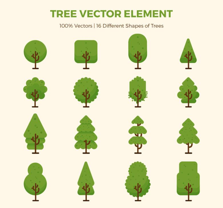 16 And Green Trees Vector
